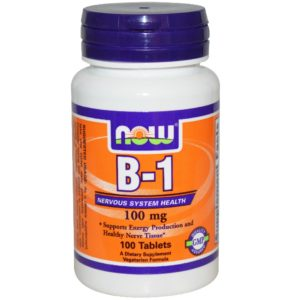 Now Vitamin B-1 Thiamine Supplement 100 mg 100 Tablets