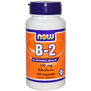 Now Vitamin B-2 Riboflavin Supplement 100 mg 100 Capsules
