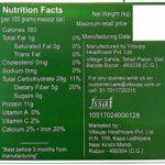 Farmer's Fresh Masoor Dal – Nutrition Chart